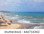 tel aviv sandy baches seascape. ... | Shutterstock . vector #666716362
