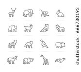 animal vector line icons ... | Shutterstock .eps vector #666730192