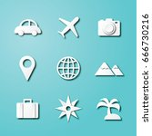 travel paper art icons  vector... | Shutterstock .eps vector #666730216