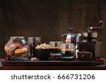 cup of coffee and coffee... | Shutterstock . vector #666731206
