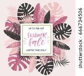 summer banner with paper... | Shutterstock .eps vector #666734506