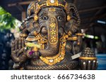 traditional balinese stone... | Shutterstock . vector #666734638