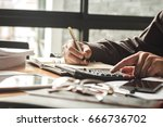 businessman's hands with... | Shutterstock . vector #666736702