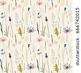 vector floral seamless pattern... | Shutterstock .eps vector #666742015