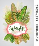 tropical summer pattern with... | Shutterstock .eps vector #666746062
