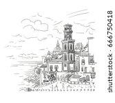 hand drawn provincial city near ... | Shutterstock .eps vector #666750418