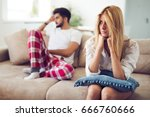 unhappy couple having crisis... | Shutterstock . vector #666760666