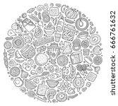 line art vector hand drawn set... | Shutterstock .eps vector #666761632