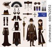 vector set with dark goth... | Shutterstock .eps vector #666762052
