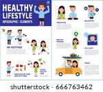 couple people healthy lifestyle.... | Shutterstock .eps vector #666763462