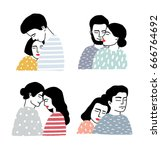 set of couples in love.... | Shutterstock .eps vector #666764692