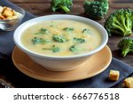 vegetable and cheese cream soup ... | Shutterstock . vector #666776518