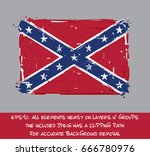 confederate rebel flat flag  ... | Shutterstock .eps vector #666780976