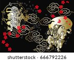 god of  wind and thunder... | Shutterstock .eps vector #666792226