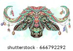 patterned head of the buffalo... | Shutterstock .eps vector #666792292