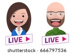 live stream sign with man woman ... | Shutterstock .eps vector #666797536