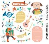 set of cute animal musicians ...   Shutterstock .eps vector #666798328