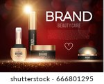 cosmetics poster template with... | Shutterstock .eps vector #666801295