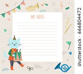 template for notes with a nice... | Shutterstock .eps vector #666804472