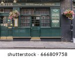 front side of a green old... | Shutterstock . vector #666809758