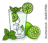 glass of mojito  ice cubes ... | Shutterstock .eps vector #666815986