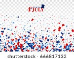 4th of July festive seamless background with top hat, stars. American Happy Independence Day design concept with scatter papers, stars in traditional American colors - red, white, blue. Isolated.