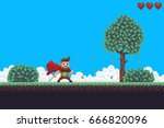 Pixel art game background with superhero character, ground, grass, sky, clouds, tree, bushes and hearts | Shutterstock vector #666820096