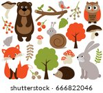 vector cute forest animals set... | Shutterstock .eps vector #666822046