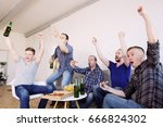 male friends sports fans... | Shutterstock . vector #666824302