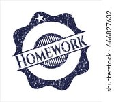 blue homework rubber stamp with ... | Shutterstock .eps vector #666827632