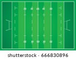 rugby field with marking from... | Shutterstock .eps vector #666830896