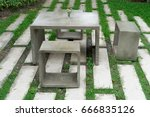 concrete table and chair in... | Shutterstock . vector #666835126