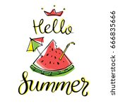 hello summer lettering and... | Shutterstock .eps vector #666835666