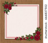 red rose and paper sheet on... | Shutterstock .eps vector #666837502