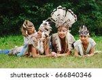 happy children playing native... | Shutterstock . vector #666840346