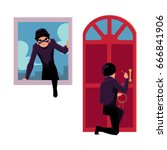 thief  burglar breaking in... | Shutterstock .eps vector #666841906
