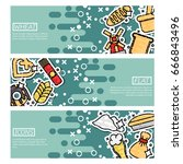 set of horizontal banners about ... | Shutterstock .eps vector #666843496