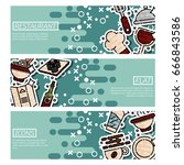 set of horizontal banners about ... | Shutterstock .eps vector #666843586