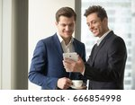 smiling happy businessman... | Shutterstock . vector #666854998