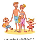 happy family on vacation.... | Shutterstock .eps vector #666856516