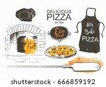 set pizza  shovel  baked in the ... | Shutterstock .eps vector #666859192