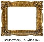 old empty golden frame isolated ... | Shutterstock . vector #666865468