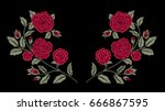 Stock vector embroidery red roses fashion design vector floral print flowers 666867595