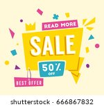 sale banner. bright and retro... | Shutterstock .eps vector #666867832