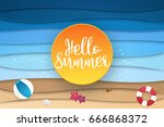 hello summer   abstract sea and ... | Shutterstock .eps vector #666868372