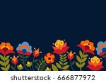 greeting card with flowers.... | Shutterstock .eps vector #666877972