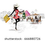 fashion girl in a white hat... | Shutterstock .eps vector #666880726