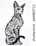 Stock vector vintage style beautiful gothic cat with body decorated in traditional flash art tattoos character 666882712