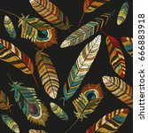 color feathers embroidery... | Shutterstock .eps vector #666883918