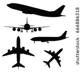 airplane silhouette in... | Shutterstock .eps vector #666886318